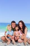 Portrait of a  joyful family at the beach Royalty Free Stock Photos
