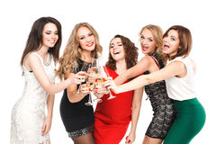 Portrait of joyful friends toasting at New Year Stock Images