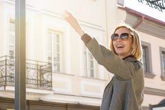 Portrait of a Joyful Woman in a Coat. Copy Space Royalty Free Stock Photo