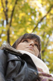 Portrait of joyful woman in nature. Portrait of joyful woman in Autumn forest Stock Photos