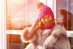 Portrait of joyful woman in winter royalty free stock photography