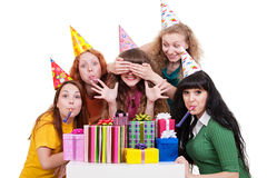 Portrait of joyful women with gifts Royalty Free Stock Photography