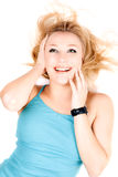 Portrait of joyful young blond girl Stock Images