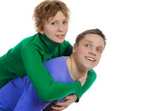 Portrait of a joyful young couple Stock Images