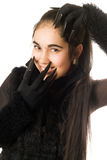 Portrait of joyful young woman in gloves Stock Images