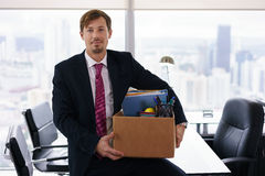 Portrait Just Hired Business Man With Crate Box Smiling Royalty Free Stock Image