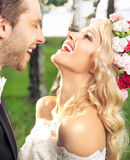 Portrait of the just married couple Royalty Free Stock Images