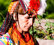 Portrait of Kalash tribe woman in national costume at Joshi fest Bumburet, Kunar, Pakistan. Portrait of Kalash tribe woman in national costume at Joshi fest - 14 stock photography