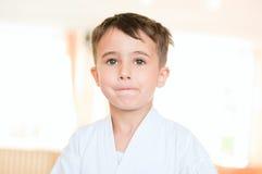 Portrait of karate boy training Stock Photos