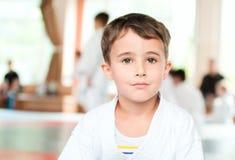 Portrait of karate boy training royalty free stock photography
