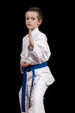 Portrait of a karate kid  in kimono ready to fight isolated on black background Royalty Free Stock Photography