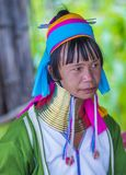 Portrait of Kayan tribe woman in Myanmar Stock Photos