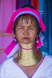 Portrait of Kayan tribe woman in Myanmar Stock Images