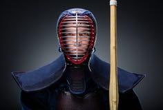 Portrait of kendoka with bokuto Stock Images