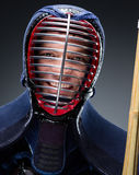 Portrait of kendoka with shinai. Concept of Japanese martial arts Stock Photo