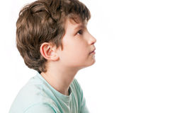 A portrait of a kid in profile Stock Photo