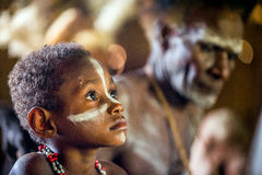 Portrait of kid from the tribe of Asmat tribe Royalty Free Stock Images
