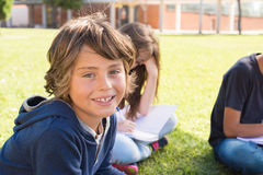 Portrait of kid. Portrait of a young kid on school campus royalty free stock image