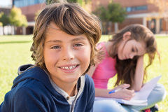 Portrait of kid. Portrait of a young kid on school campus stock photo