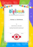 Portrait kids Diploma or certificate template with colorful back. Ground Stock Photography