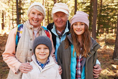 Portrait of kids and grandparents in forest, California, USA Stock Photos
