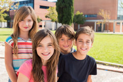 Portrait of kids. Portrait of group of kids on school campus stock image