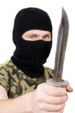 Portrait of the killer with a knife Royalty Free Stock Images