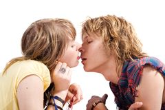 Portrait of kissing couple. Portrait of kissing young beauty couple Royalty Free Stock Image