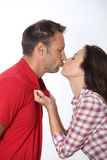 Portrait of kissing lovers Royalty Free Stock Image