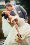 Portrait of kissing newlyweds Royalty Free Stock Image