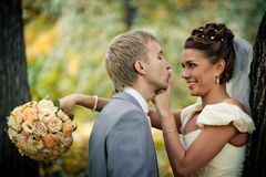 Portrait of kissing newlyweds Royalty Free Stock Photos