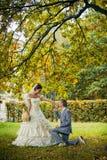 Portrait of kissing newlyweds Royalty Free Stock Photos