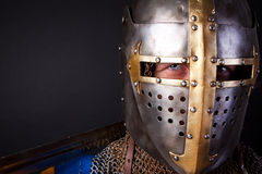 Portrait of knight. Picture of noble knight wearing helmet Royalty Free Stock Photo