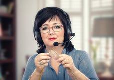 Portrait knitting blogger in headphones Royalty Free Stock Photo