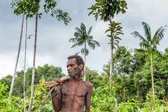 The Portrait Korowai man hunter with arrow and bow. Tribe of Korowai (Kombai , Kolufo). Stock Photo