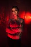 Portrait léger mélangé de mode de jeune femme attirante Photographie stock