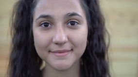 Portrait La belle fille sourit dans l'appareil-photo banque de vidéos