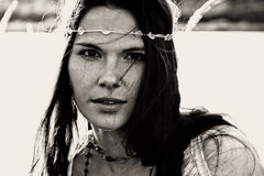 Portrait a la vintage. Portrait of a beautiful girl vith pretty freckled face Stock Photography