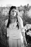 Portrait a la vintage. Black and white portrait of the beautiful hippie girl Stock Image