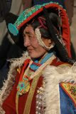 Portrait of Ladakhi female in traditional costume Royalty Free Stock Photo