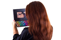 Portrait of lady with eyeshadow and brush Stock Photo
