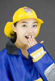 Portrait of a lady firefighter looking shocked Royalty Free Stock Photography