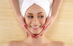 Portrait of a lady getting spa treatment Stock Photo