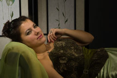 Portrait of the lady in a luxurious boudoir Royalty Free Stock Photography