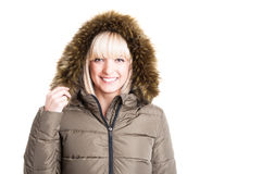 Portrait of lady posing wearing winter furry hood Royalty Free Stock Photography