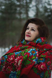 Portrait of lady in red scarf. In winter park stock images
