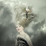 Portrait of a Lady. Sophisticated and artistic portrait of a beautiful female model with a white dove on a branch in the very long blond hair royalty free illustration
