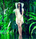 Portrait of a lady in a tropical forest Royalty Free Stock Images