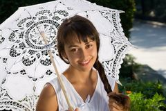 Portrait of a lady with umbrella Stock Photos