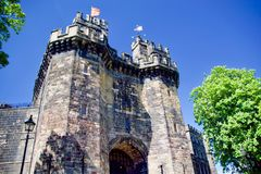 Portrait of Lancaster castle gatehouse stock image